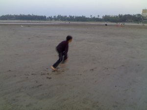 Sahil practicing at Aksa beach..Run with the spirits of the great runners of Africa, I told him that evening..