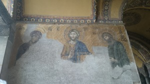 Mosaic. The faces of St John and Virgin Mary are said to be serious as they are asking Jesus to forgive.