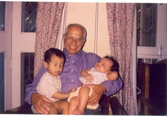 June 25,1999. My father's last photograph, Palam Vihar, with Divya and Sagar in his arms.